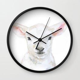 Lamb Face Watercolor Wall Clock
