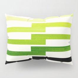 Minimalist Mid Century Modern Sap Green Watercolor Painting Lightning Bolt Zig Zag Pattern With Blac Pillow Sham