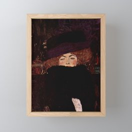 "Gustav Klimt ""Lady with Hat and Feather Boa"" Framed Mini Art Print"