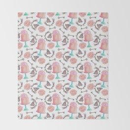 Rose pink coral flowers butterfly bohemian deer antlers Throw Blanket
