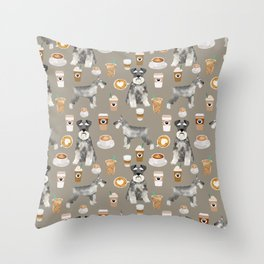Schnauzer coffee dog breed pet art pure breed cafes pupuccino Throw Pillow