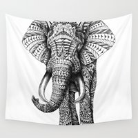 fashion illustration Wall Tapestries featuring Ornate Elephant by BIOWORKZ