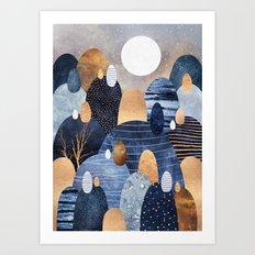 Little Land Of Pebbles - Blue Art Print