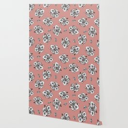 Rose Gold Flower Pattern White Flowers Wallpaper