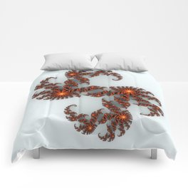 Orange Sunburst Fractal Comforters
