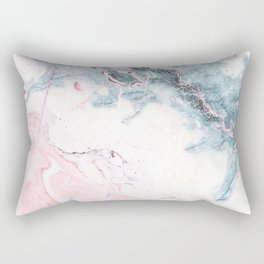 Blue and Pink Marble Rectangular Pillow