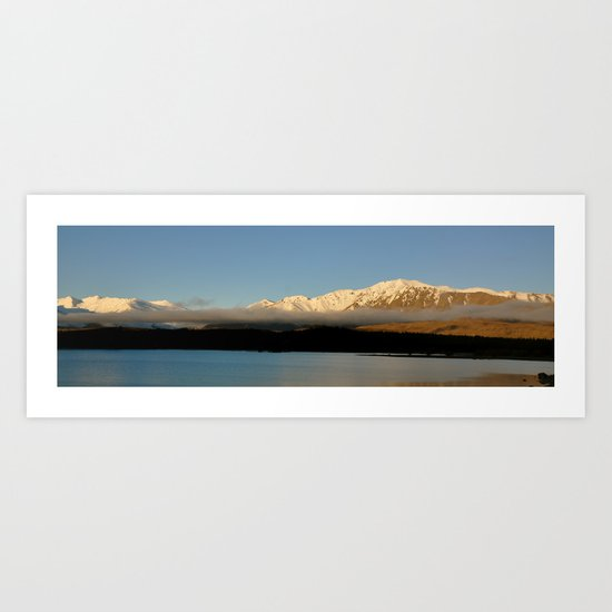 Low Clouds over Mountains and Lake Art Print