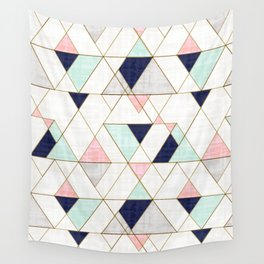 Mod Triangles - Navy Blush Mint Wall Tapestry