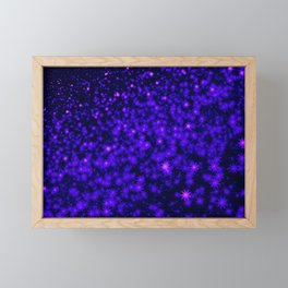 Christmas Blue Purple Night Snowflakes Framed Mini Art Print