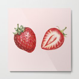 Pink Strawberry Metal Print