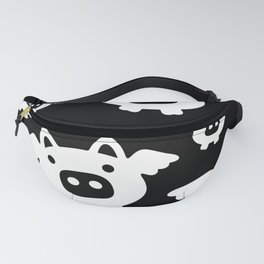 Pigs Will Fly - white on black Fanny Pack