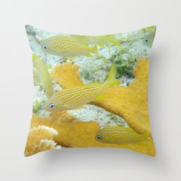 Yellow Coral Reef Fish Throw Pillow