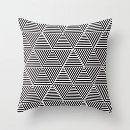 Black and White triangle pattern design Throw Pillow