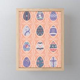 Ornate Easter Eggs - Coral + Purple Framed Mini Art Print