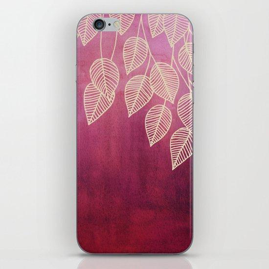 Magenta Garden - watercolor & ink leaves iPhone & iPod Skin
