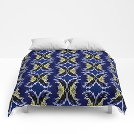Yellow Darkblue Ornament  Baroque Damask Pattern Comforters