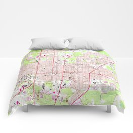 Vintage Map of Gainesville Florida (1966) Comforters