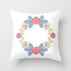 Hand Drawn Floral Wreath Design Throw Pillow