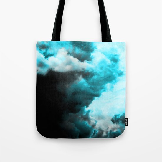 Relaxed - Cloudy Abstract In Blue And Black Tote Bag