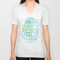 Smile It's contagious :D Unisex V-Neck