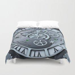 Steampunk clock silver Duvet Cover