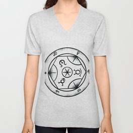 Disc with symbols Unisex V-Neck
