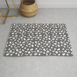 The Little Farm Animals, white on grey Rug
