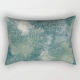 Grunge Abstract Art in Teal, Olive Green and Cream Rectangular Pillow
