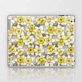 Daffodil Daze - yellow & grey daffodil illustration pattern Laptop & iPad Skin