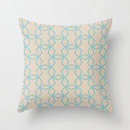 Aquamarine Beige Geometric Mosaic Pattern Color of the Year Aqua Fiesta and Sourdough Throw Pillow