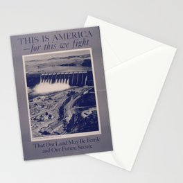 Vintage American World War 2 Poster - This is America: Land Fertile and Future Secure (1943) Stationery Cards