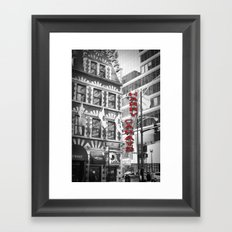 Red Harry Caray's Black and White Chicago Photography Framed Art Print