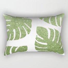 Glitter Monstera Leaves Rectangular Pillow