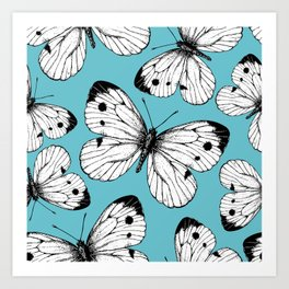 Cabbage butterfly pattern Art Print