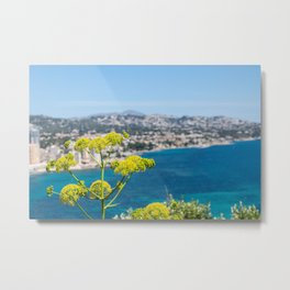 Flowers with the mediterranean sea and calpe in the background Metal Print