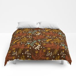 Elegant fall orange yellow teal brown floral polka dots Comforters