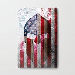 Molon Labe - Spartan Helmet Across An American Flag On Distressed Metal Sheet Metal Print