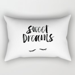 Sweet Dreams black and white contemporary minimalist typography poster home wall decor bedroom art Rectangular Pillow