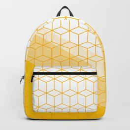 Abstract Geometric 006 - mustard yellow & white Backpack