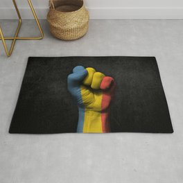 Romanian Flag on a Raised Clenched Fist Rug
