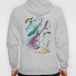 Help Stop Shark Finning - Watercolor Ocean Animals - Fish Hoody