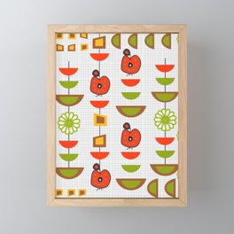 Fresh mid century with apples and flowers Framed Mini Art Print
