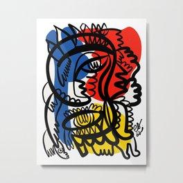 Red Blue Yellow Graffiti Tribal King Art by Emmanuel Signorino  Metal Print
