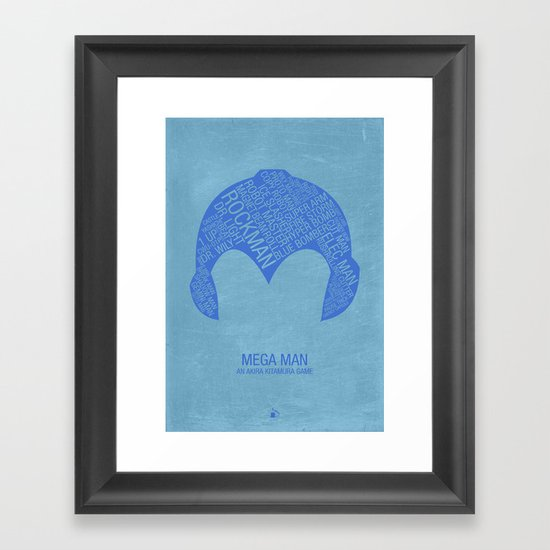 Mega Man Typography Framed Art Print