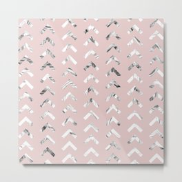 Black White Marble Arrowheads Blush Pink Metal Print