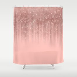 Glamorous Pink Rose Gold Glitter Striped Gradient Shower Curtain