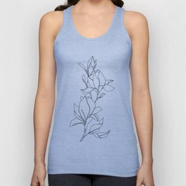 Botanical illustration line drawing - Magnolia Unisex Tank Top