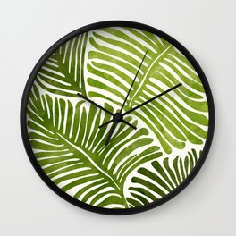 Summer Fern / Simple Modern Watercolor Wall Clock