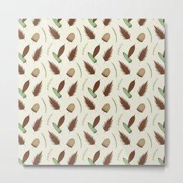 Ivory brown mint green pine cone floral Metal Print