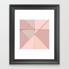 Modern rose gold peach blush pink color block Framed Art Print
